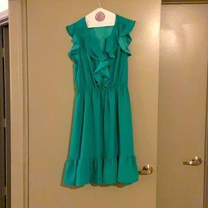 NWT Kate Spade Crepe Ruffle Dress in Berylgreen